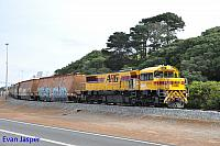 DFZ2405 on 3603 loaded woodchip train seen here approaching the unloader at the Albany Port on the 21st May 2019