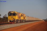 ACN4141 and ACN4171 on 7765 loaded iron ore train south of Gutha on the 1st December 2012