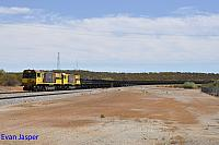 ACN4142 and ACN4171 on 7762 empty Karara iron ore train seen here heading though Mullewa on the 23rd February 2019