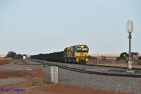 ACN4146, ACN4175 and ACN4172 on 1763 loaded Karara iron ore train ready to depart Tenindewa for Geraldton on the 26th January 2020