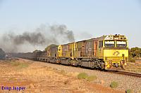 ACN4146, ACN4175 and ACN4172 on 1763 loaded Karara iron ore train seen here departing Tenindewa for Geraldton on the 26th January 2020