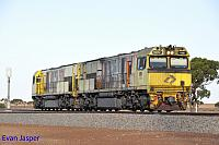 ACN4146 and ACN4175 being shunted from the loop to the mainline at Tenindewa on top of ACN4172 on the 26th January 2020