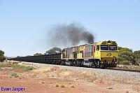 ACN4148 and ACN4144 on 6763 loaded Karara iron ore train seen here heading though Tenindewa on the 22nd February 2019