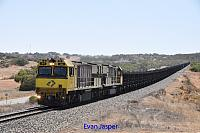 ACN4169 and ACN4172 on 1761 loaded Karara iron ore train seen here heading though Micko's Dip for Geraldton on the 26th January 2020