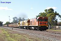 P2516, P2514 and P2505 on 2720 empty Mount Gibson iron ore train seen here heading though Morawa on the 1st July 2019
