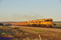 P2502, P2508 and P2506 on 3721 loaded Mount Gibson iron ore train seen here leaving Narngulu East for Geraldton Port on the 2nd July 2019
