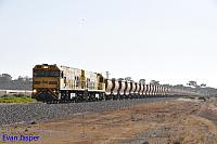 P2502 and P2505 on 7722 empty Mount Gibson iron ore train seen here approaching Narngulu East on the 25th Janaury 2020