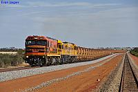 P2503, DFZ2406 and P2510 on 7723 loaded iron ore train climbing away from Bell crossing loop on the 1st December 2012