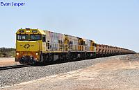 P2505, P2502 and P2504 on 1721 loaded Mount Gibson iron ore train seen here powering though Kojarena for Geraldton on the 26th January 2020
