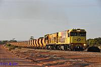 P2505 and P2502 on 7721 loaded Mount Gibson iron ore train seen here heading though Morawa on the 25th January 2020
