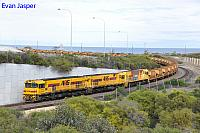 P2508 P2502 and P2506 on 1721 loaded Mount Gibson iron ore train seen here approaching the unloader at the Geraldton Port on the 30th June 2019