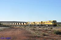 P2508, P2502 and P2506 on 3721 loaded Mount Gibson iron ore train seen here heading though Tardun on the 2nd July 2019