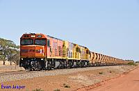 P2516, P2506 and P2508 on 2720 empty Mount Gibson iron ore train seen here heading though Morawa on the 27th January 2020