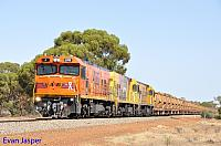 P2516, P2506 and P2508 on 2720 empty Mount Gibson iron ore train seen here heading though Perenjori on the 27th January 2020