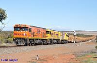 P2516, P2514 and P2505 on 2720 empty Mount Gibson iron ore train seen here heading though Erandu on the 1st July 2019