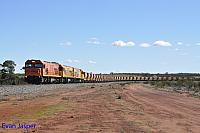 P2516, P2514 and P2505 on 2720 empty Mount Gibson iron ore train seen here heading though Tardun on the 1st July 2019