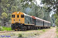 F40 on Hotham Valleys Steam Ranger seen here departing Dwellingup on the 7th October 2015