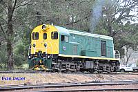 Hotham Valleys diesel locomotive F40 seen here at Dwellingup getting ready to haul the steam ranger on the 2nd October 2016