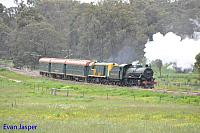 Hotham Valleys steam locomotive W920 and Diesel locomotive F40  on the Steam ranger seen here heading departing Isandra on the 28th September 2016