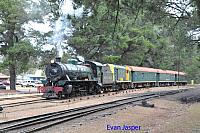 Hotham Valleys steam locomotive W920 and diesel locomotive F40 seen here on the Steam Ranger arriving in Dwellingup on the 2nd October 2016