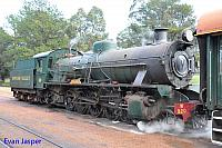 Hotham Valleys W class steam loco W920 stands on the lead of the Steam Ranger ready to depart for Isandra on the 27th August 2014