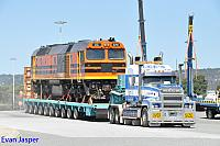 DC2215 on the back of a truck about to leave Forrestfield for fremantle to be shipped to South Africa taken on the 6th January 2015