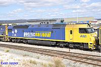 Second unit  on 1Pm5 is AN1 taken at Perth Freight Terminal Kewdale on the 26th October 2014
