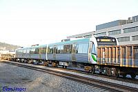Transperth newiest B set 107 on the back of 5MP2 steel train at Midland on the 31st May 2015