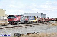 MRL001 and NR77 on 1035 empty MRL iron ore train seen here heading though Forrestfield South on the 13th March 2016