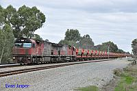 MRL004 and MRL006 on 1033 empty MRL Iron ore train seen here heading though Hazelmere on the 1st May 2016