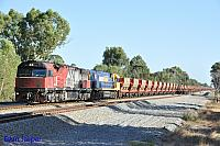 MRL006 and NR105 on 1035 empty MRL iron ore train seen here heading though Hazelmere on the 28th February 2016