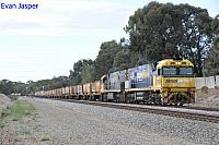 NR100 and NR19 on 5MP2 loaded steel train seen here heading though Hazelmere for Perth Freight Terminal Kewdale on the 5th April 2020