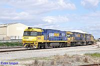 NR100, NR16 and NR88 on 7P21 light engine turn seen here returning from Cockburn at Forrestfield south on the 26th August 2017