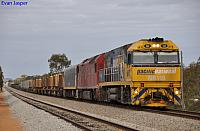 NR110 and AN3 on 2NP3 loaded steel train at Tammin on the 22nd September 2011