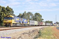 NR117 and NR67 on 5PM5 freighter seen here heading though Millendon Junction on the 25th September 2014