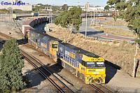 NR119 AN3 and NR63 on 1PS6 freighter seen here departing Perth Freight Terminal Kewdale on the 3rd May 2020