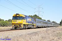 NR13 on 5AP9 Indian Pacific service seen here heading though Stratton on the 15th November 2014