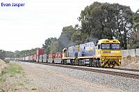 NR15 and NR28 on 6SP5 freighter seen here heading though Hazelmere for Perth Freight Terminal Kewdale on the 5th April 2020
