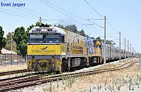NR18 and NR27 on 1PA8 Indian Pacific seen here heading though Bassendean on the 28th December 2014