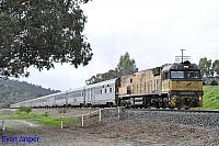 NR18 on 5AP8 Indian Pacific seen here heading though Brigadoon on the 14th July 2018