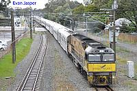 NR18 on 5AP8 Indian Pacific is seen her heading though East Guildford on the 6th August 2014