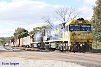 NR22 and NR66 on 6SP5 freighter seen here heading though Toodyay West on the 3rd September 2017