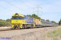 NR27 and NR18 on 5AP8 Indian Pacific seen here powering though Stratton for East Perth on the 27th December 2014