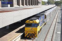 NR28 on 5AP8 Indian Pacific seen here arriving into East Perth on the 3rd January 2015