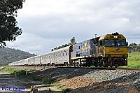 NR28 on 5AP8 Indian Pacific service seen here heading though Brigadoon on the 25th July 2015