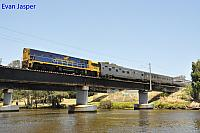 NR28 on 7003 empty Indian Pacific train seen here crossing the Guildford Bridge for PFT Kewdale on the 20th December 2014