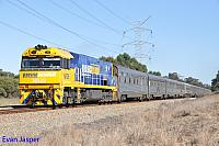 NR29 on 1AP8 Indian Pacific seen here powering though Stratton on the 14th October 2014
