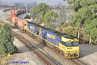 NR44 and NR7 on 1PS6 freighter seen here departing Perth Freight Terminal Kewdale on the 8th March 2020