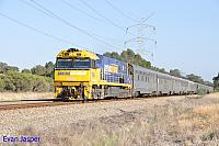 NR6 on 5AP8 Indian Pacific train seen here heading though Stratton for Kwinana on the 21st March 2015