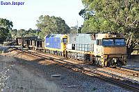 NR7 and 8118 on 7PX4 steel train seen here heading though Brigadoon for Spencer Junction (SA) on the 11th January 2014